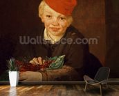 The Boy with the Cherries, 1859 (oil on canvas) wallpaper mural kitchen preview