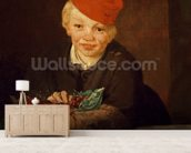 The Boy with the Cherries, 1859 (oil on canvas) wallpaper mural living room preview
