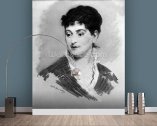 Portrait of Madame Emile Zola, 1874 (pastel on canvas) (b/w photo) mural wallpaper