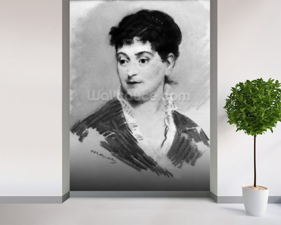 Portrait of Madame Emile Zola, 1874 (pastel on canvas) (b/w photo) mural wallpaper room setting
