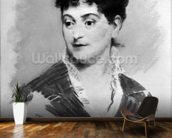 Portrait of Madame Emile Zola, 1874 (pastel on canvas) (b/w photo) mural wallpaper kitchen preview