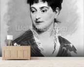 Portrait of Madame Emile Zola, 1874 (pastel on canvas) (b/w photo) mural wallpaper living room preview
