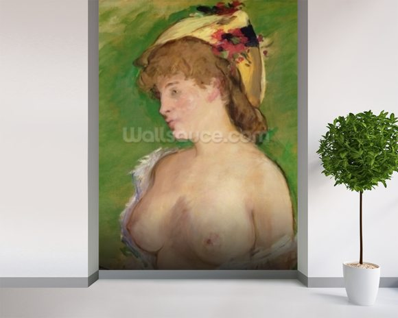 The Blonde with Bare Breasts, 1878 (oil on canvas) wallpaper mural room setting