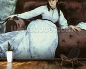 The Rest, portrait of Berthe Morisot (1841-95), 1870 (oil on canvas) mural wallpaper kitchen preview