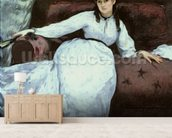 The Rest, portrait of Berthe Morisot (1841-95), 1870 (oil on canvas) mural wallpaper living room preview