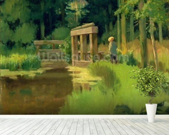 In a Park (oil on canvas) wallpaper mural room setting