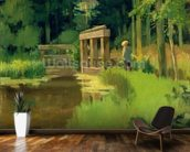 In a Park (oil on canvas) wallpaper mural kitchen preview