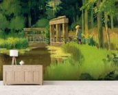 In a Park (oil on canvas) wallpaper mural living room preview
