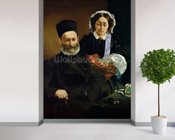 Portrait of Monsieur and Madame Auguste Manet, 1860 (oil on canvas) wall mural room setting