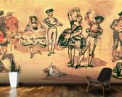 Spanish Dancers, 1862 (w/c, pencil and ink) wallpaper mural kitchen preview