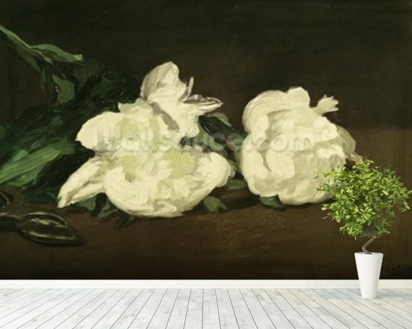 Branch of White Peonies and Secateurs, 1864 (oil on canvas) mural wallpaper room setting
