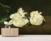 Branch of White Peonies and Secateurs, 1864 (oil on canvas) mural wallpaper living room preview