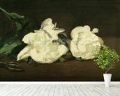 Branch of White Peonies and Secateurs, 1864 (oil on canvas) mural wallpaper in-room view