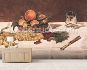 Still Life: Fruit on a Table, 1864 (oil on canvas) mural wallpaper living room preview