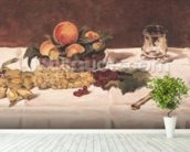 Still Life: Fruit on a Table, 1864 (oil on canvas) mural wallpaper in-room view