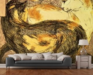 Two Cats (sketch) wallpaper mural