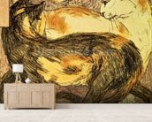 Two Cats (sketch) wallpaper mural living room preview