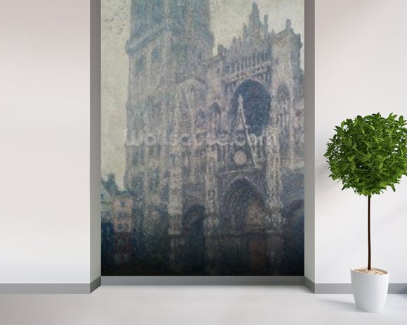 Rouen Cathedral, West Portal, Grey Weather, 1894 (oil on canvas) wall mural room setting