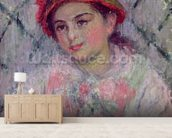 Portrait of Blanche Hoschede (1864-1947) as a Young Girl, c.1880 (oil on canvas) wallpaper mural living room preview