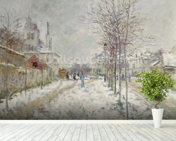 Snow Effect (oil on canvas) mural wallpaper room setting