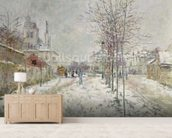 Snow Effect (oil on canvas) mural wallpaper living room preview