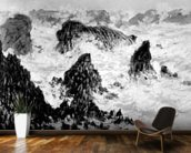 The Rocks of Belle-Ile, 1886 (oil on canvas) (b/w photo) wallpaper mural kitchen preview