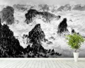 The Rocks of Belle-Ile, 1886 (oil on canvas) (b/w photo) wallpaper mural in-room view