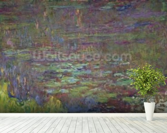 Waterlilies at Sunset, detail from the right hand side, 1915-26 (oil on canvas) wallpaper mural room setting