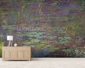 Waterlilies at Sunset, detail from the right hand side, 1915-26 (oil on canvas) wallpaper mural living room preview
