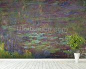 Waterlilies at Sunset, detail from the right hand side, 1915-26 (oil on canvas) wallpaper mural in-room view