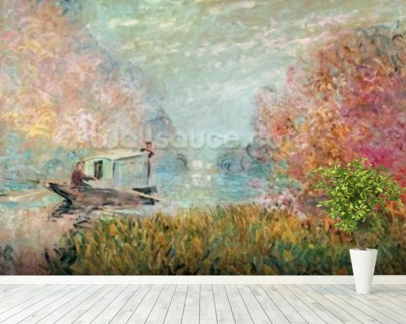The Boat Studio on the Seine, 1875 (oil on canvas) wall mural room setting