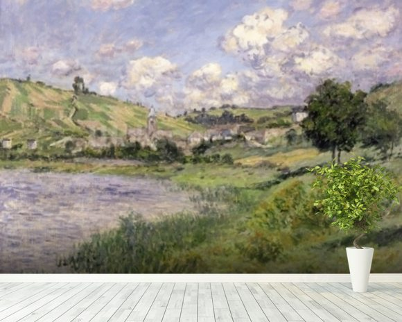 Landscape, Vetheuil, 1879 (oil on canvas) wallpaper mural room setting