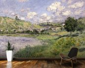 Landscape, Vetheuil, 1879 (oil on canvas) wallpaper mural kitchen preview