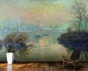 Sun Setting over the Seine at Lavacourt. Winter Effect, 1880 (oil on canvas) mural wallpaper kitchen preview