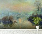 Sun Setting over the Seine at Lavacourt. Winter Effect, 1880 (oil on canvas) mural wallpaper in-room view