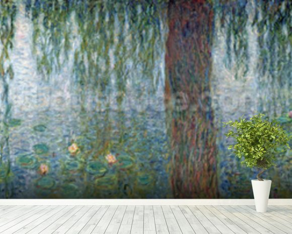 Waterlilies: Morning with Weeping Willows, detail of the left section, 1915-26 (oil on canvas) (see also 162348-9) mural wallpaper room setting