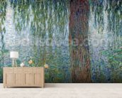 Waterlilies: Morning with Weeping Willows, detail of the left section, 1915-26 (oil on canvas) (see also 162348-9) mural wallpaper living room preview