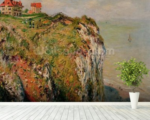 Cliff at Dieppe, 1882 (oil on canvas) wall mural room setting