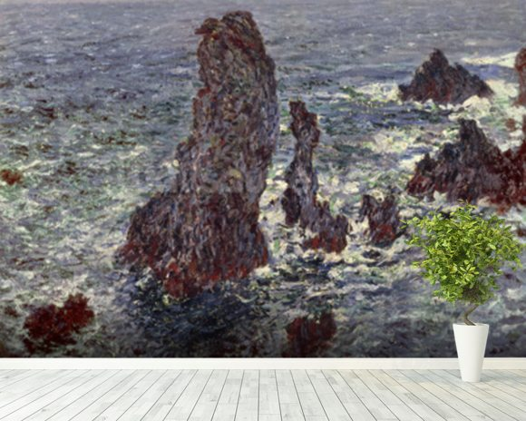 The Rocks at Belle-Ile, 1886 (oil on canvas) wallpaper mural room setting