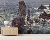 The Rocks at Belle-Ile, 1886 (oil on canvas) wallpaper mural living room preview