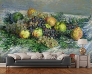 Still Life with Pears and Grapes Wall Mural Wallpaper Wall Murals Wallpaper