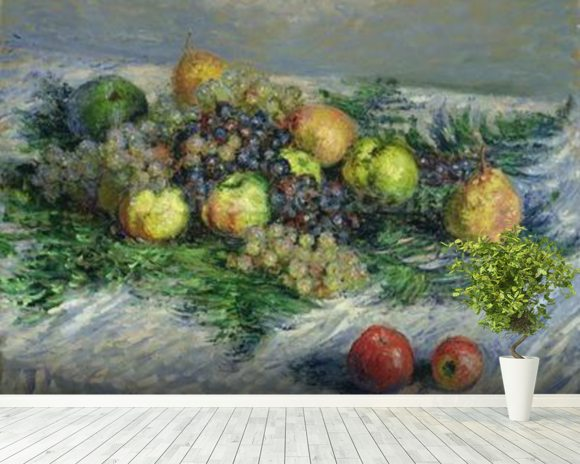 Still Life with Pears and Grapes, 1880 (oil on canvas) wall mural room setting
