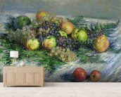 Still Life with Pears and Grapes, 1880 (oil on canvas) wall mural living room preview
