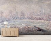 Frost near Vetheuil, 1880 (oil on canvas) mural wallpaper living room preview