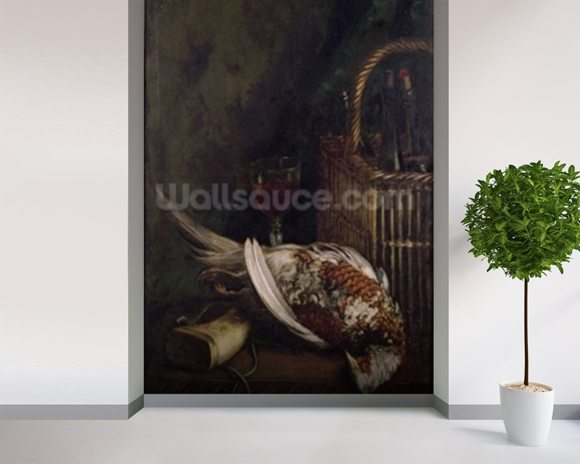 Still Life with a Pheasant, c.1861 (oil on canvas) wall mural room setting