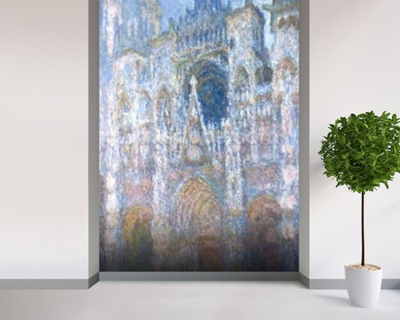 Rouen Cathedral, Blue Harmony, Morning Sunlight, 1894 (oil on canvas) wallpaper mural room setting