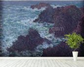 The Rocks at Belle-Ile, the Wild Coast, 1886 (oil on canvas) wall mural in-room view