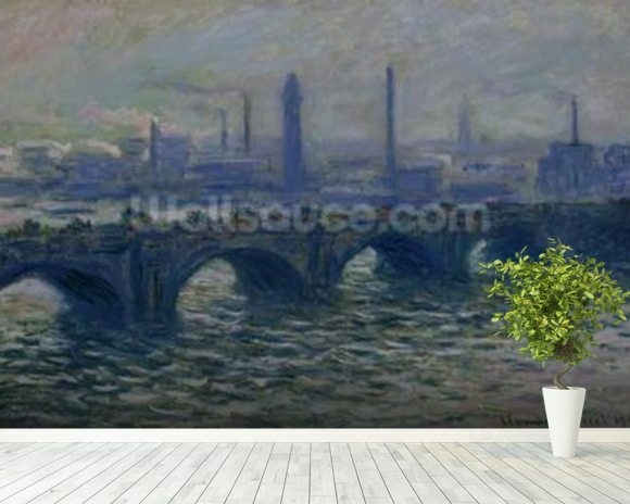 Waterloo Bridge, 1902 (oil on canvas) mural wallpaper room setting