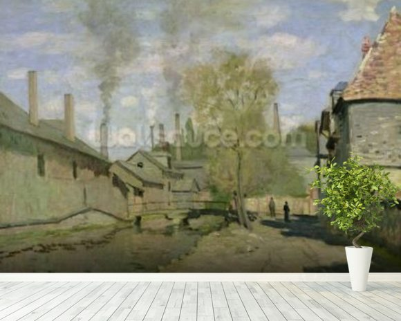The Stream of Robec at Rouen, 1872 (oil on canvas) mural wallpaper room setting