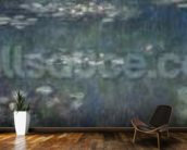 Waterlilies: Green Reflections, 1914-18 (left and right section) (oil on canvas) mural wallpaper kitchen preview